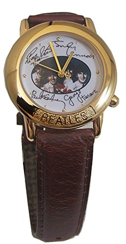 The Beatles Gold Tone Watch in Wooden Guitar case and Beatles signatures