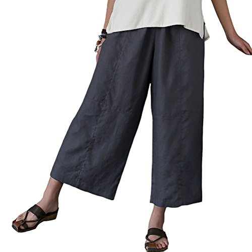 Linen Capris (Aeneontrue Women's Casual Linen Wide Leg Pants Trousers with Elastic Waist (Large, Style2_Gray))