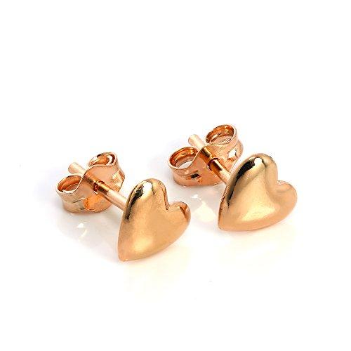 Boucles d'Oreilles Cœurs en Argent Plaqué Or Rose 18 Carats