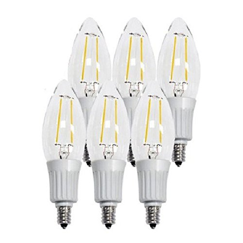 Artiva USA L2A-4TDM-E12-27-6 Dimmable LED Filament 2700K Warm Light Fine Tip Bulb (6 Pack), 1.38'' x 1.38'' x 4.65'', Chrome/Clear by Artiva USA