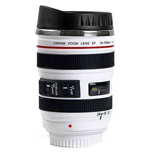 Coffee Mug, Camera Lens Travel Thermos, Stainless Steel Insulated Cup with Easy Clean Lid (White)