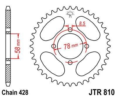 JT Rear Sprocket JTR810 48 Teeth fits Hyosung 125 Cruise I 97