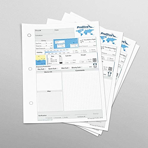 PADI Standard Dive Log Book Refill Pages 25 Pages 50 Dives 3 Hole