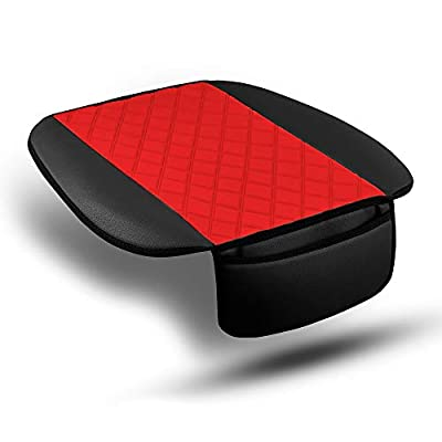 FH Group FB210102 Faux Leather/NeoSupreme Seat Cushion Pad with Front Pocket (Red) Front Set – Universal Fit for Cars Trucks & SUVs: Automotive