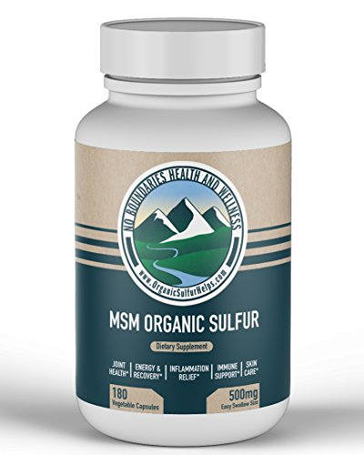 500mg MSM Organic Sulfur Capsules by No Boundaries Health and Wellness – 180 Vegetable Capsules: All-Natural Rice Flour Excipient – Premium Health Supplement: 99.9% Pure MSM – Joints, Skin, Hair, Nail by No Boundaries Health and Wellness MSM Organic Sulfur