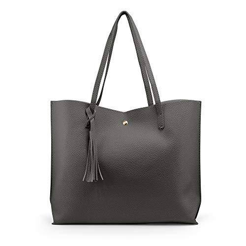 OCT17 Women Tote Bag - Tassels Faux Leather Shoulder Handbags, Fashion Ladies Purses Satchel Messenger Bags (Dark Gray) ()
