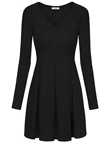 Tunic Dress, Vivilli Women's Long Sleeve V Neck Comfortable Vintage T Shirt Dress Peplum Top Black - Fx Christmas 25 Of Days