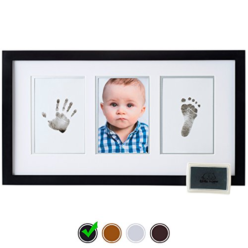 Little Hippo Baby Footprint & Handprint Kit - Baby Picture Frame (BLACK) & Non Toxic Inkpad! Unique Baby Gifts Personalized for Baby Shower Gifts! Baby Boy Gifts, Baby Girls Gifts, for Baby Registry! (Framed Custom Display)