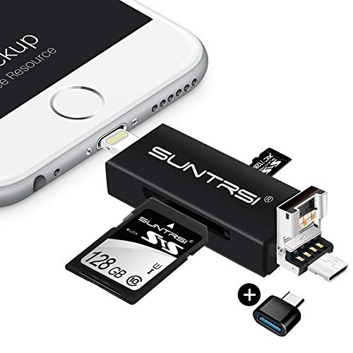 "suntrsi TF/SD Card Reader compatible with iPhone/OTG Android/Computer, Micro SD Card Reader compatible with iPhone/iPad Charging,Compatible to SD Card Camera Adapter ""x disk"" from SUNTRSI"