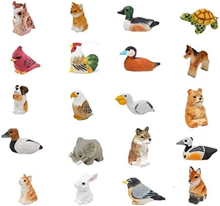 20 Set of Mini 2 Wooden Animal Figurines – Handmade USA Art – Unique Original Carving – Ornament, Decoration, Miniature Animals
