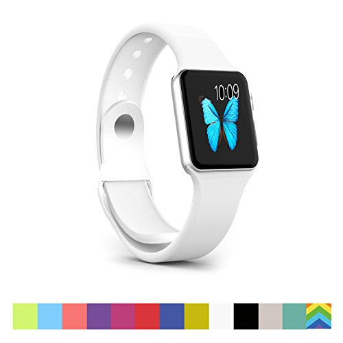Photo - Apple Watch Band - WantsMall Soft Silicone Sport Style Replacement iWatch Strap for 42mm Apple Watch Models (2nd White)