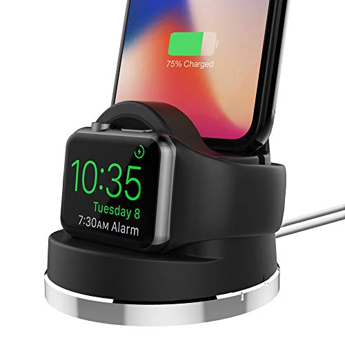 UMTELE Compatible for Apple Watch 4 Charging Stand, 2 in 1 Charging Dock Compatible with Apple Watch Series 4/3/2/1 and AirPods, iPhone X/8/8Plus/7/7Plus/6s/6s and Most Android ()