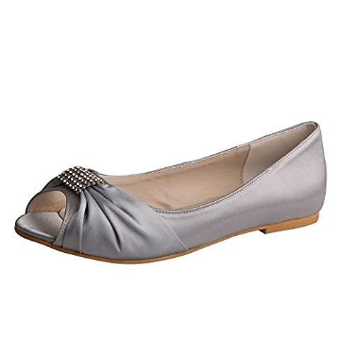 Wedopus MW1361 Rhinestones Wedding Peep Toe Women Ballet Flats Buckle Satin Bridal Shoes Size 12 Silver