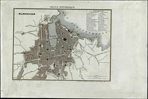 (Marseilles France miniature city plan 1835 antique engraved map w/hand color )