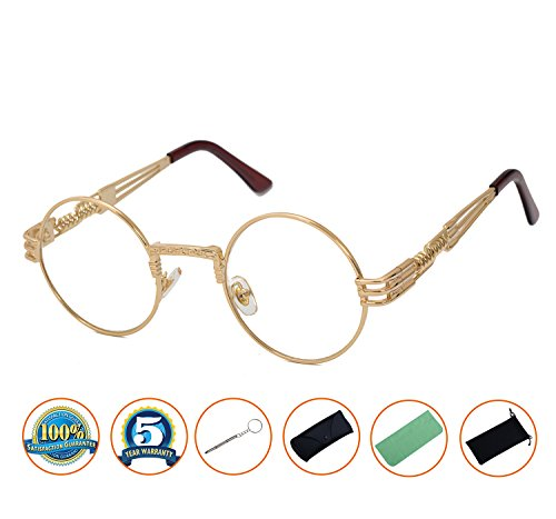 QIYIGE John Lennon Style Metal Spring Frame Round Steampunk Glasses with Clear Lens (Gold Frame/Clear Lens, - Glasses Frame Round Amazon