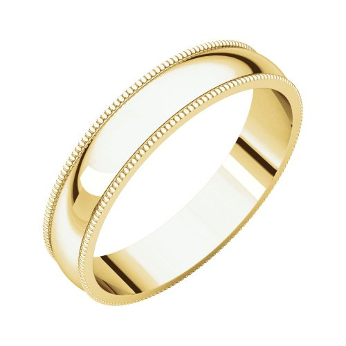 - Security Jewelers 14k Yellow Gold 4mm Light Milgrain Band, 14kt Yellow Gold, Ring Size 5.5