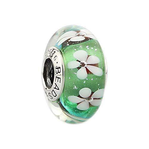 Artisan Blown Lampworks Artful Murano Glass Bead .925 Stamped Sterling Silver Core Fashion Jewelry