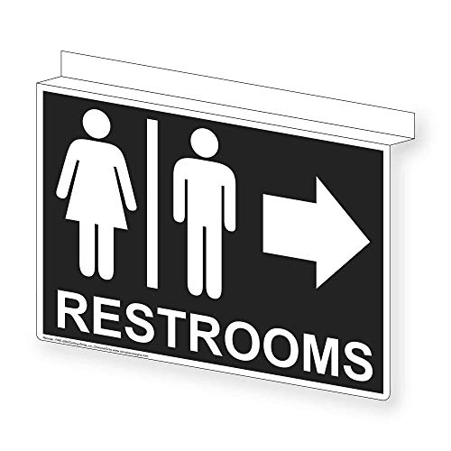 ComplianceSigns Aluminum Restroom Public / Private Ceiling Sign, 14 x 10 with English, Charcoal Gray