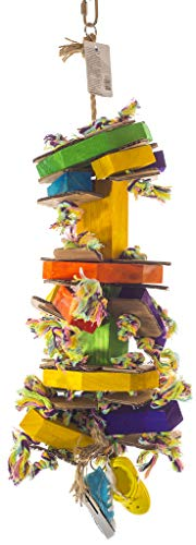 Birds LOVE Octoblock Wood Rope Bird Toy for Bird Cage w Sneaker Rubber Sandal and Cardboard for African Grey Macaw and Cockatoo and Similar Sized Birds (Cardboard Bird Toys)