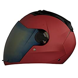 STEELBIRD HELMET SBA-2 MATT SPORT RED WITH GOLD VISOR MEDIUM 580 MM (ONE EXTRA TRANSPARENT VISOR AND STEELBIRD CABLE…