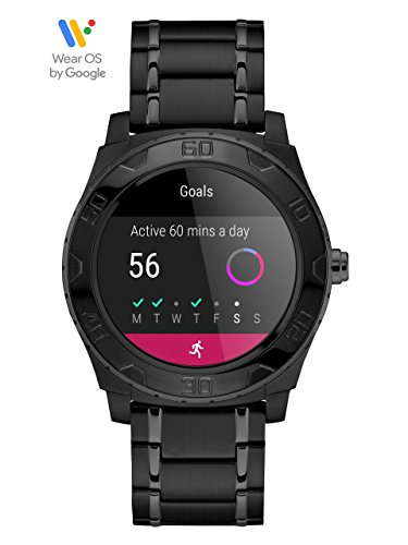GUESS Men's Stainless Steel Android Wear Touch Screen Silicone Smart Watch, Color: Black (Model: C1001G5)