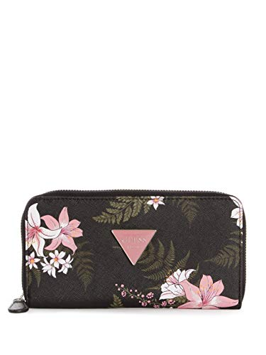 Guess Factory Women's Abree Floral Printed Triangle Logo Zip-Around Wallet ()