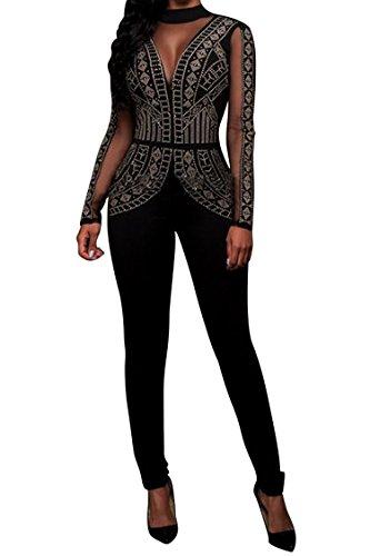 VamJump Women's Black Long Sleeve Rhinestone Mesh Top Club Jumpsuits Rompers (Sequin Jumper)
