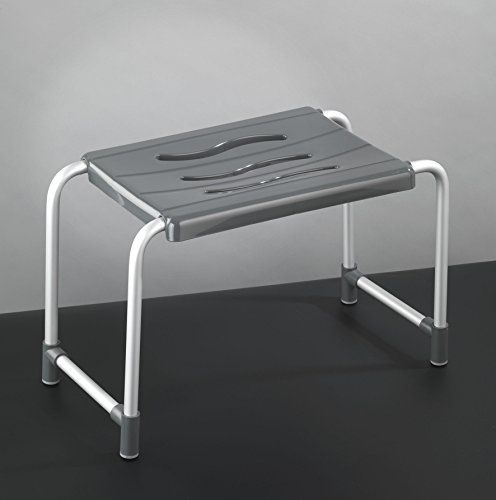 Wenko 17936500 Duschhocker Secura Wannenhocker, 120 kg Tragkraft, Aluminium, 50,5 x 32,5 x 26 cm, silber