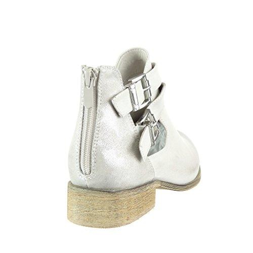 Angkorly Damen Schuhe Stiefeletten - Reitstiefel - Kavalier - BI-Material - Glänzende - Knoten - Camouflage Blockabsatz 3 cm Beige