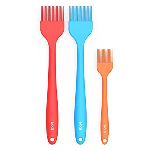 EXVI Heat Resistant Silicone Basting Pastry Brush Baking Kitchen Food Oil Brushes Rubber Brush Grilling BBQ Brush for Cake Baster Sauce Set of 3 -