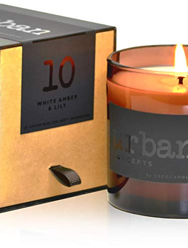 DecoCandleS Urban Concepts Sassy- White Amber & Lily - Highly Scented Candle - Long Lasting - Hand Poured in The USA - Hotel Inspired Collection - 9 Oz.