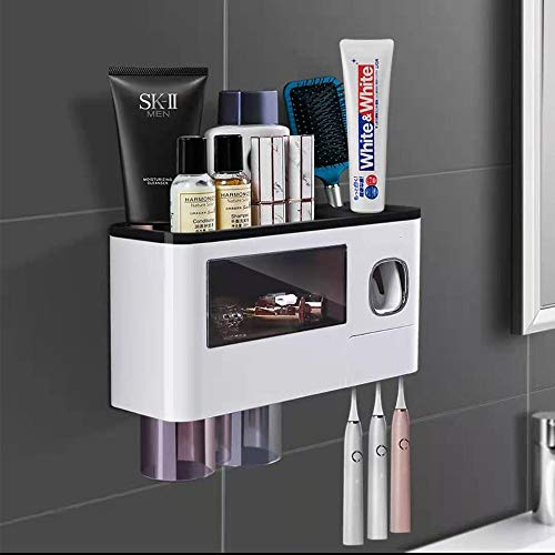 Toothbrush Holder Wall Mounted, WREWING Electric Multifunctional Toothbrush Holder for Bathroom with Cover Automatic Toothpaste Dispenser for Bathroom Toothbrush Holder Set with Drawer (2 Cups, Black)