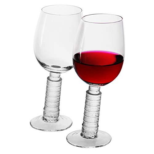 Bordeaux Wine Glasses Wine Drinking Leaning Tower of Pisa Modelling 15.5oz Laser Cut Rim Lead-Free Elegant Party Drinking Glassware(Set of 2)