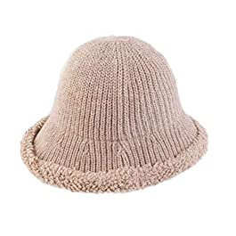 LIANGM Autumn and Winter hat Female Literary Fisherman hat raw Edge Wool Knit Fisherman hat Wild Travel Folding Visor