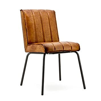 Vollwaren Vintage Leder Stuhl Malin Echtleder Cognac Sessel