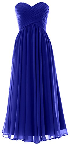 MACloth Women Long Bridesmaid Dress Strapless Chiffon Prom Party Formal Gown Azul Real