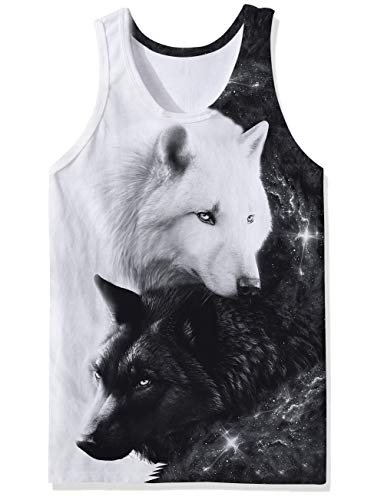 (SKYRAINBOW Sport Gym Sleeveless Vest Shirts 3D Printed Realistic Black-White Galaxy Wolf Underwaist Gym Tank Tops for Men)