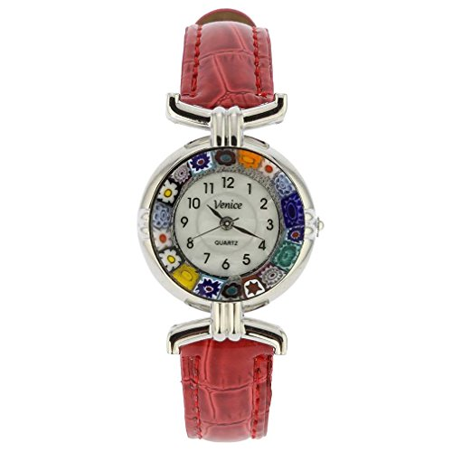 GlassOfVenice Murano Glass Millefiori Watch with Leather Band - Silver Red