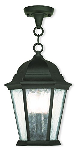 Livex Lighting 75469-14 Textured Black Outdoor Semi-Flush Mount with Clear Water Glass by Livex Lighting
