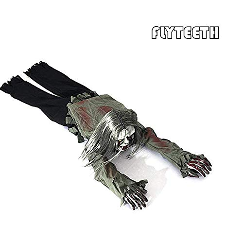 flyteeth Halloween Horror Zombie Skeleton Bloody Haunted Animated Prop Decorations- Crawling Bloody Skeleton with Red Light Eyes & Creepy Scream, Perfect Item for Halloween Party. ()