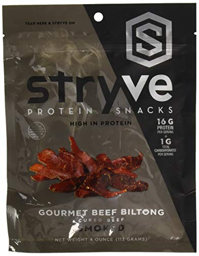 Stryve Smoked Beef Biltong | No Fat, Low Carb, Low Sugar | 16g Protein | 4oz | Gluten Free and Ketogenic