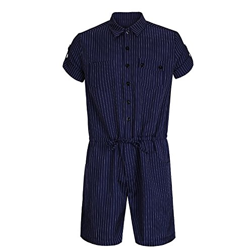 Jinshida Men's Roll Up Short Sleeve Striped Drawstring Waist Jumpsuit Playsuit Overalls Blue XXL