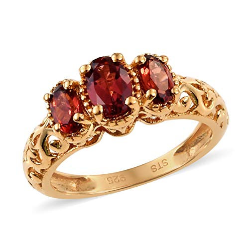 925 Sterling Silver 14K Yellow Gold Plated Oval Garnet Trilogy Ring for Women Size 6 Cttw 0.9