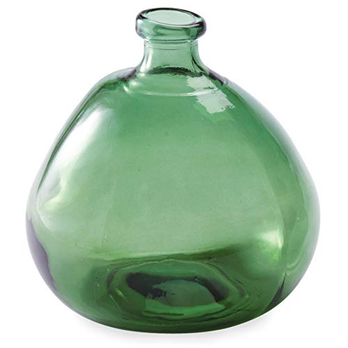 Clear Green Recycled Glass - Mud Pie Recycled Green Spanish Rounded Large Glass Vase,