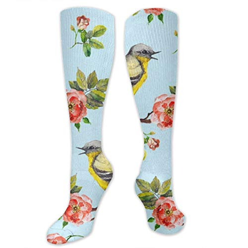 Compression Socks Watercolor Bird Scenery Girls Winter Sock Party Tight Stocking for Womens Men Boys