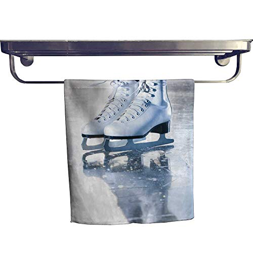 Leigh home Beach Towel,dramati Blue Portrait Shot ice Skates ,Super Soft & Absorbent Fade Resistant Cotton Terry Towel W 12
