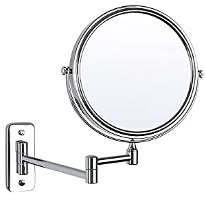 Ibeaty bathroom mirror 8 inch wall mount makeup mirror double sided face mirror Polished chrome bathroom mirrors