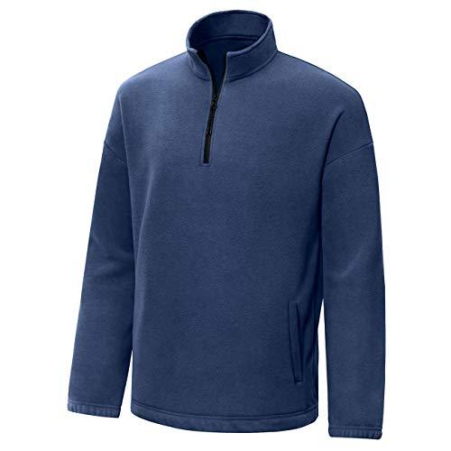 Aoli Ray Men's 1/4 Zip Fleece Pullover Long Sleeve Sweatshirts Hoodie Sport Jackets Outerwear (Navy, ()