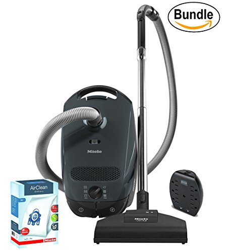 Price comparison product image Miele Classic C1 Capri Powerline Canister Vacuum,  Lava Grey,  Corded - ReVIVE Rapid Dual USB 6 Outlet Wall AC Adapter,  & 10123210 AirClean 3D Efficiency Dust Bag,  Type GN,  4 Bags & 2 Filters (Bundle)