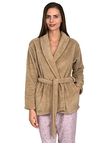 TowelSelections Women's Bed Jacket Fleece Cardigan Cuddly Robe Medium/Large Champagne Beige